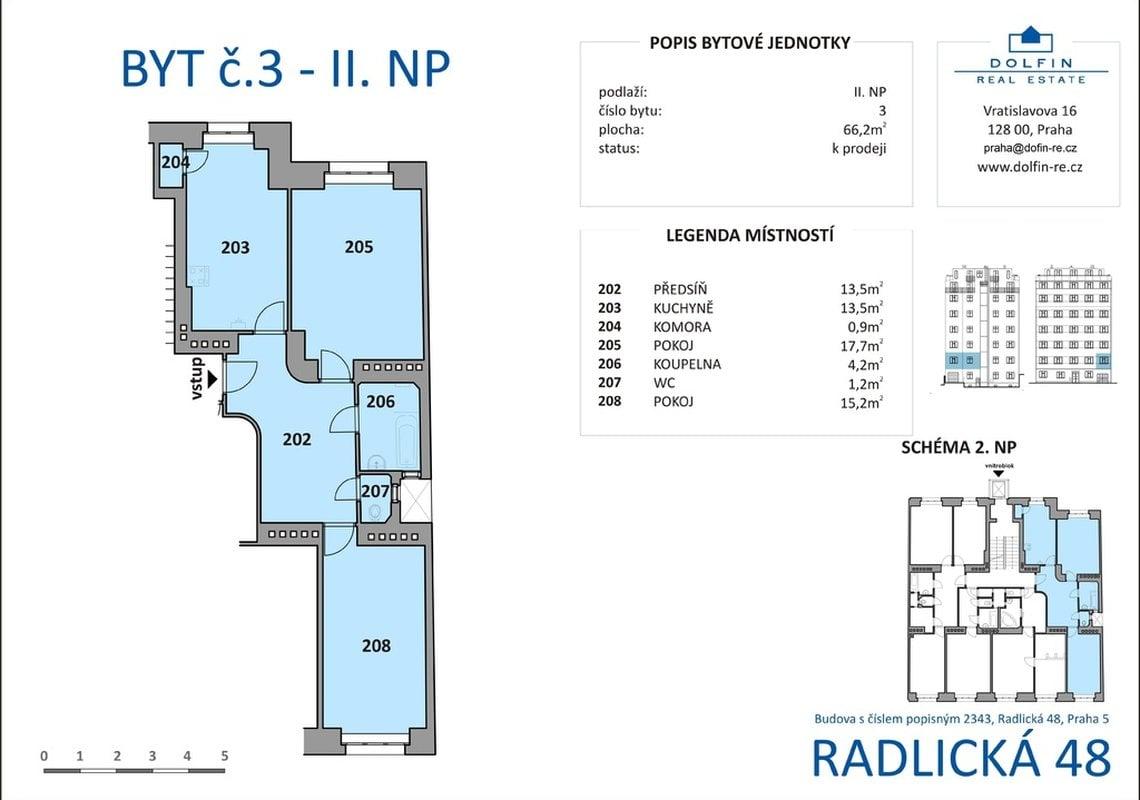 Продажа, 2-х комнатные квартиры (3+кк), 66m² - Praha