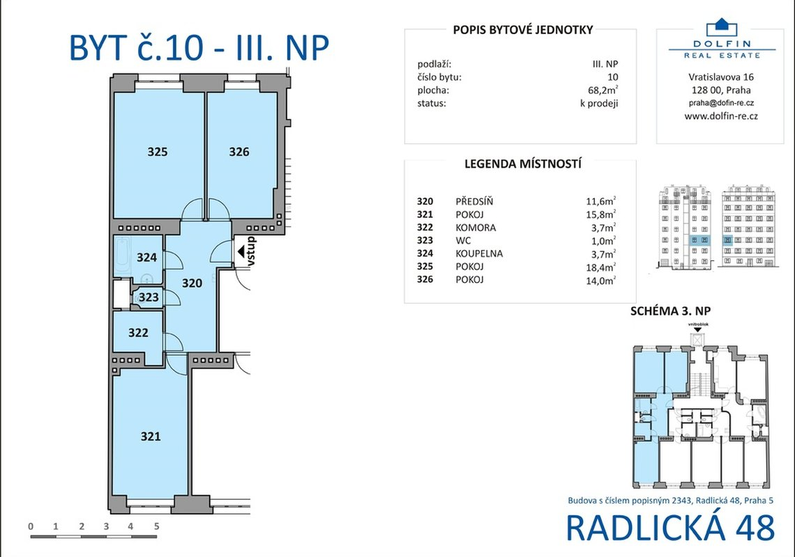 Продажа, 2-х комнатные квартиры (3+кк), 68m² - Praha