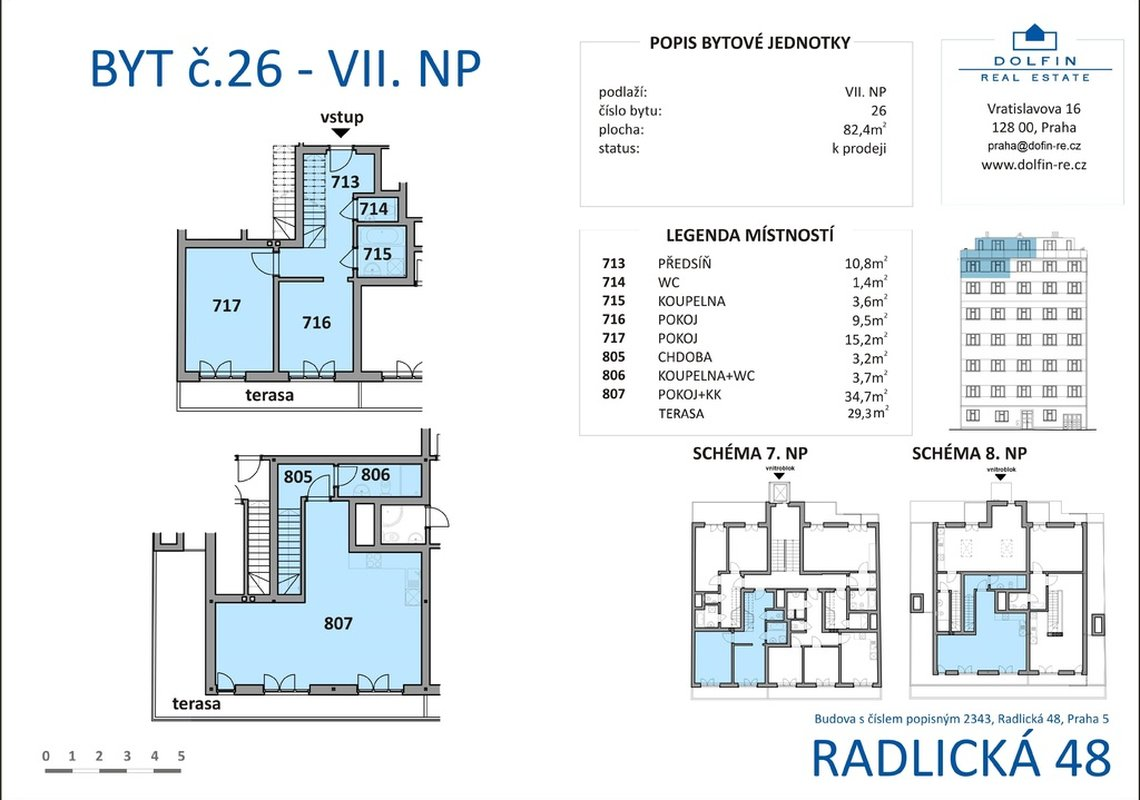 Продажа, 2-х комнатные квартиры (3+кк), 82m² - Praha