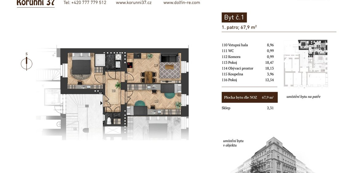 Prodej, Byt 2+1, 67,9 m² - Praha 2, Vinohrady