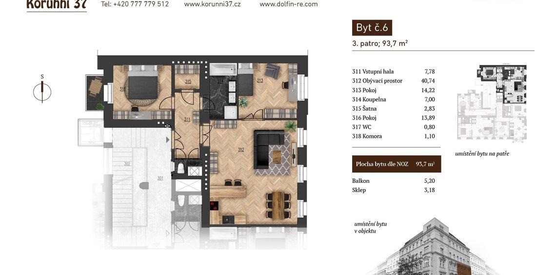 Prodej, Byt 3kk, 93,7 m² - Praha 2, Vinohrady