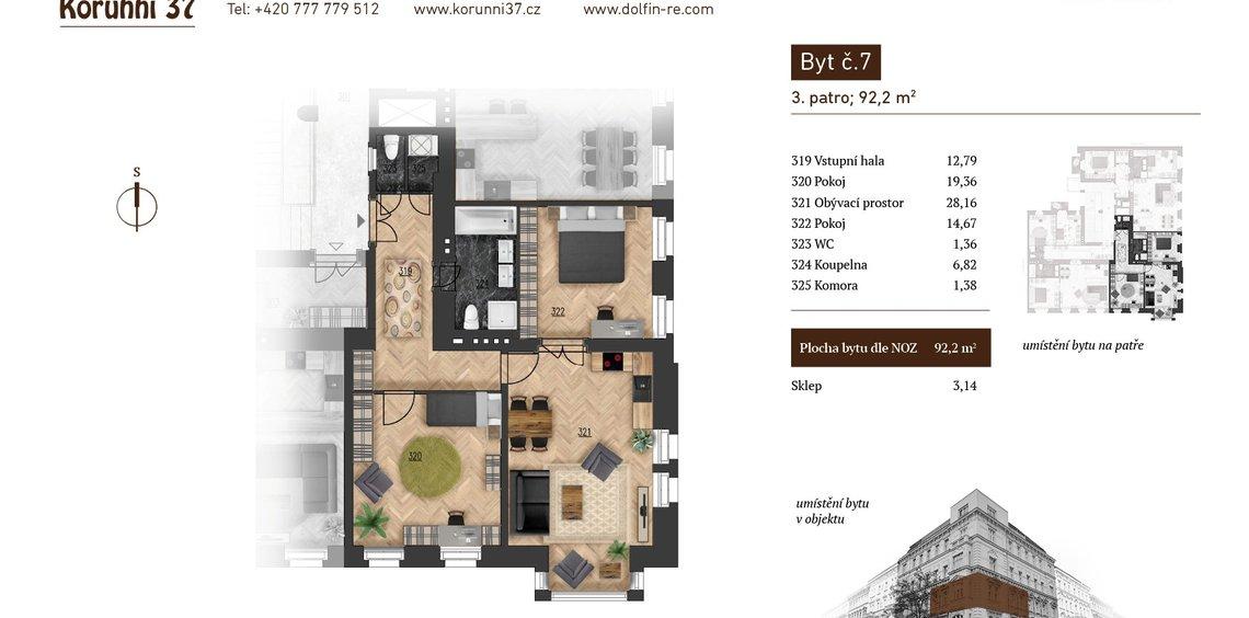 Prodej, Byt 3kk, 92,2 m² - Praha 2, Vinohrady