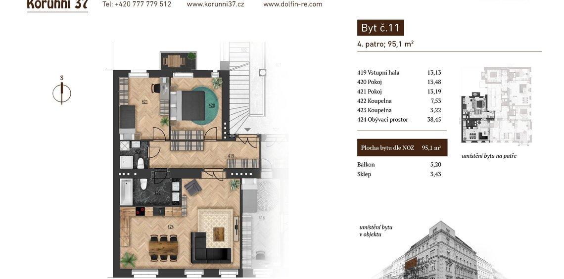 Prodej, Byt 3+1, 89,78 m² - Praha 2, Vinohrady
