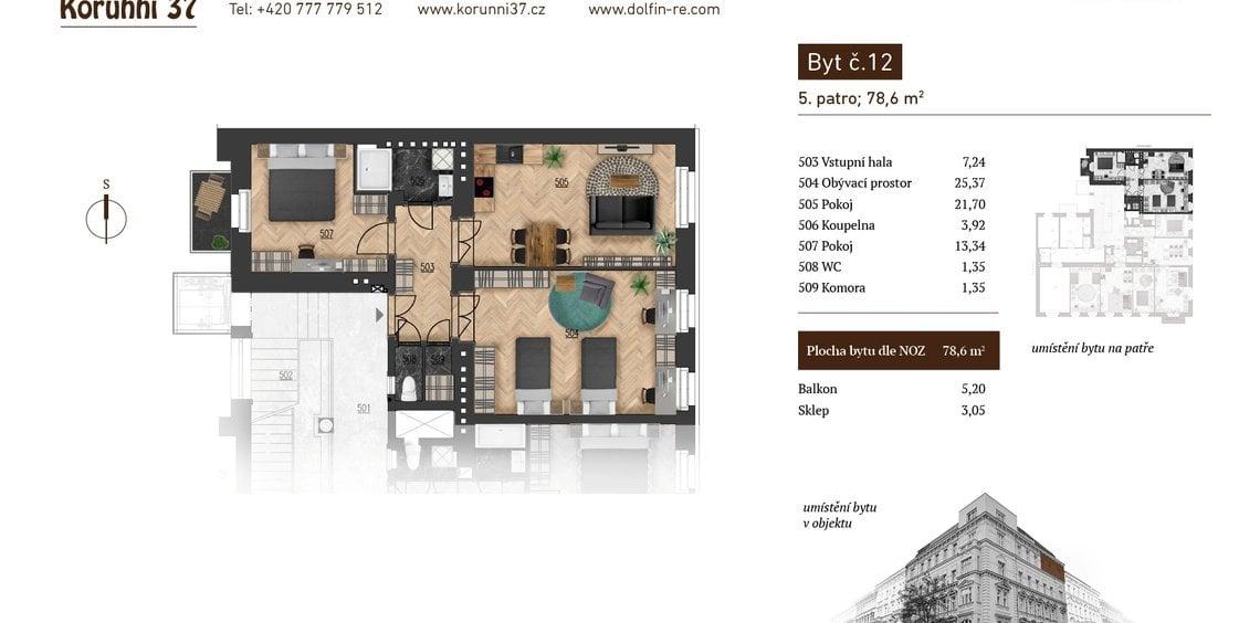 Prodej, Byt 2+1, 78,6 m² - Praha 2, Vinohrady