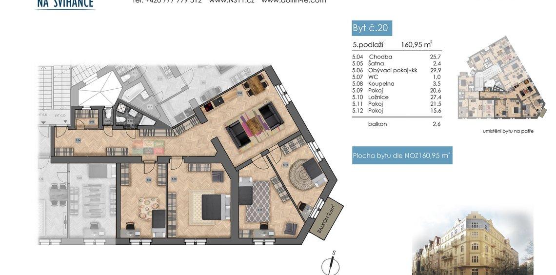 Prodej bytu 5kk, 160,95 m2, s balkónem, Na Švihance - Vinohrady, Praha 2