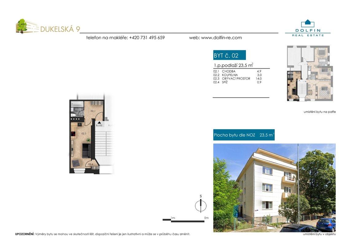 Flat for sale 1+kk, 23,5 m², ul. Dukelská