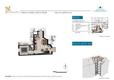 Flat for sale 2+kk, 52,6 m², with balkony, st. Na Zámyšli