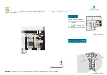 Flat for sale 2+kk, 39,2 m², st. Na Zámyšli