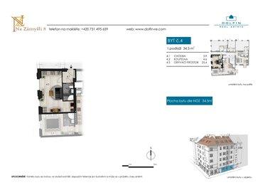 Продается квартира 1+kk, 34,5  м², ул. Na Zámyšli
