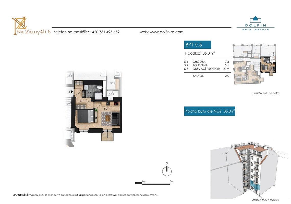 Flat for sale 1+kk, 36  m², with balkony, st. Na Zámyšli