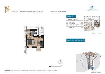 Prodej bytu 1+kk, 36 m², s balkónem, ul. Na Zámyšli