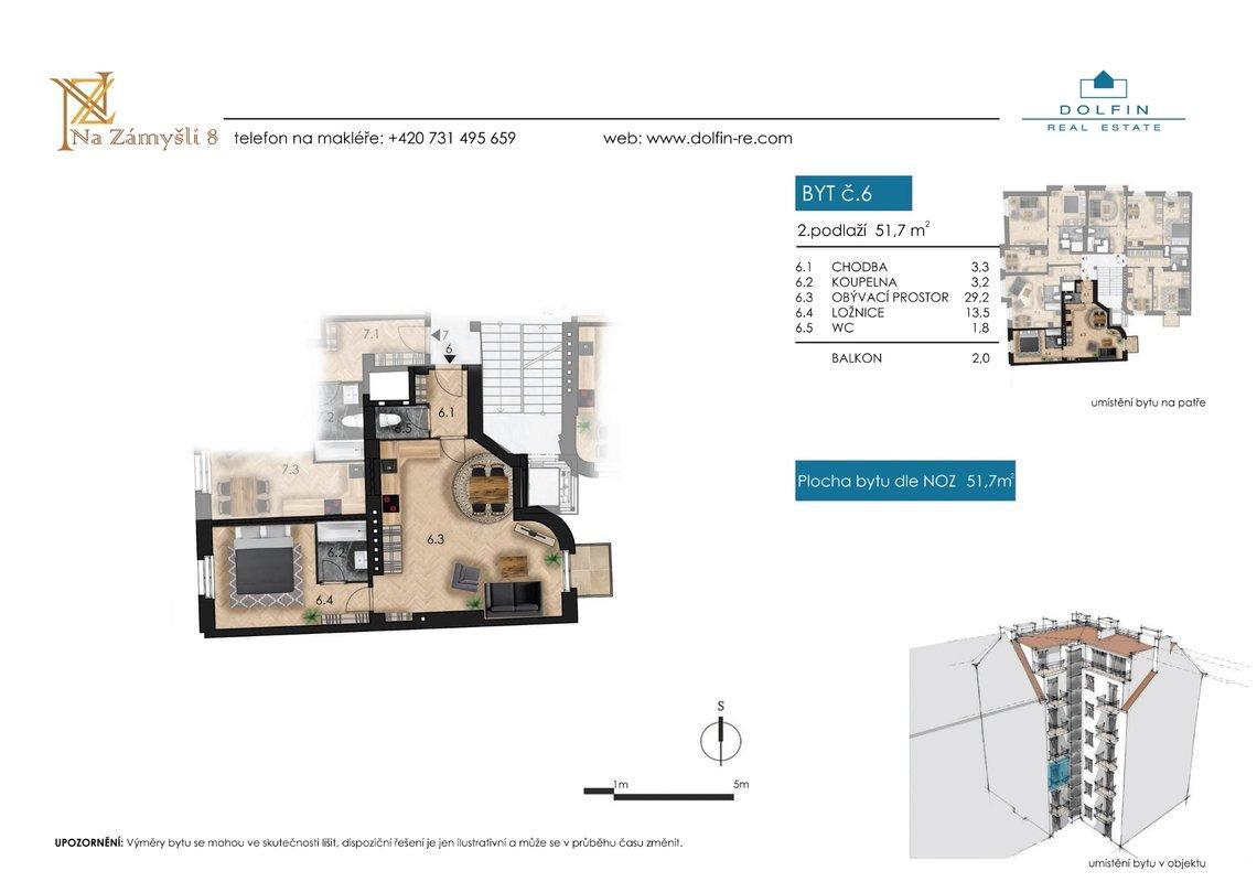 Flat for sale 2+kk, 51,7 m², with balkony, st. Na Zámyšli