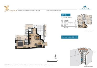 Продается квартира 2+kk, 51,7 м², с балконом, ул. Na Zámyšli