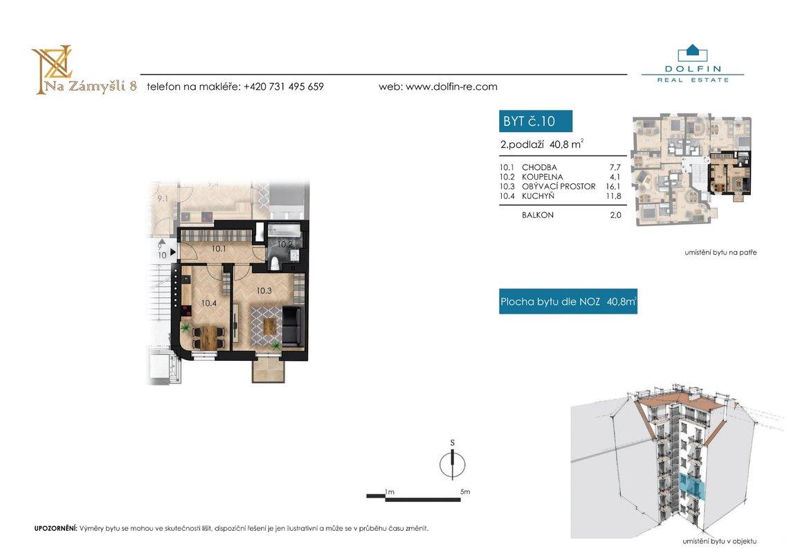 Flat for sale 2+kk, 40,8 m², with balkony, st. Na Zámyšli