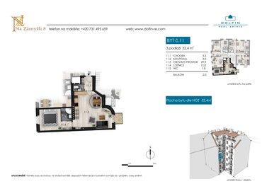 Prodej bytu 2+kk, 52,4 m², s balkónem, ul. Na Zámyšli