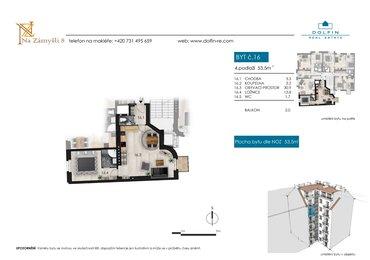 Flat for sale 2+kk, 53,5 m², with balkony, st. Na Zámyšli