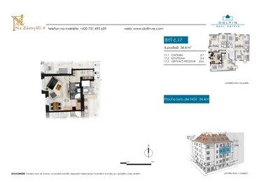 Prodej bytu 1+kk, 34,4 m², ul. Na Zámyšli