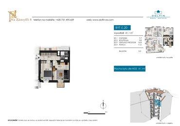 Flat for sale 2+kk, 41,1 m², with balkony, st. Na Zámyšli