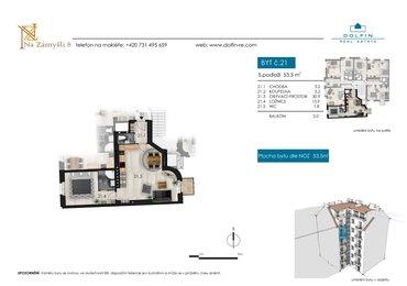 Prodej bytu 2+kk, 53,5 m², s balkónem, ul. Na Zámyšli