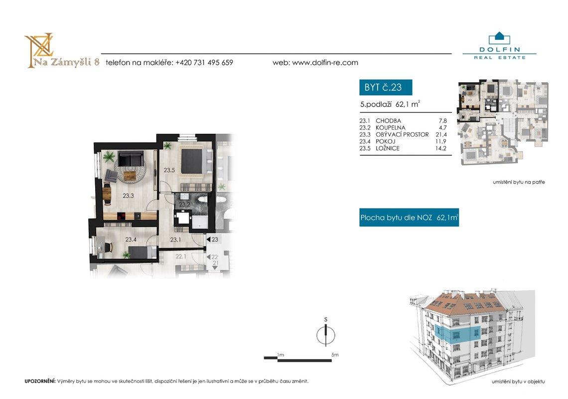 Flat for sale 3+kk, 62,1 m², st. Na Zámyšli