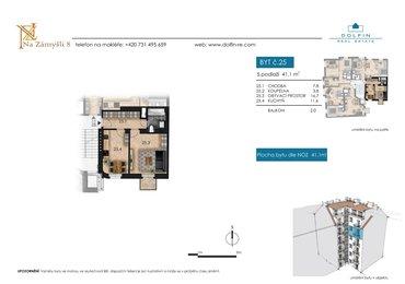 Продается квартира 2+kk, 41,1 м², с балконом, ул. Na Zámyšli