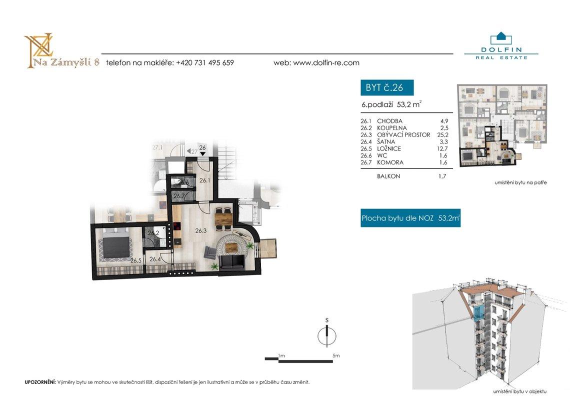 Flat for sale 2+kk, 53,2 m², with balkony, st. Na Zámyšli