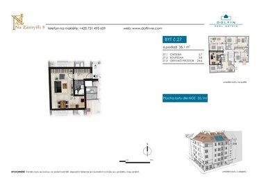Prodej bytu 1+kk, 35,1 m², ul. Na Zámyšli