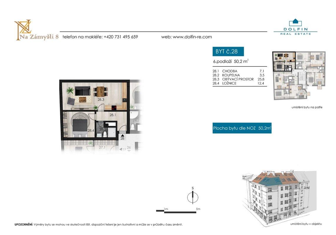 Flat for sale 2+kk, 50,2 m², st. Na Zámyšli