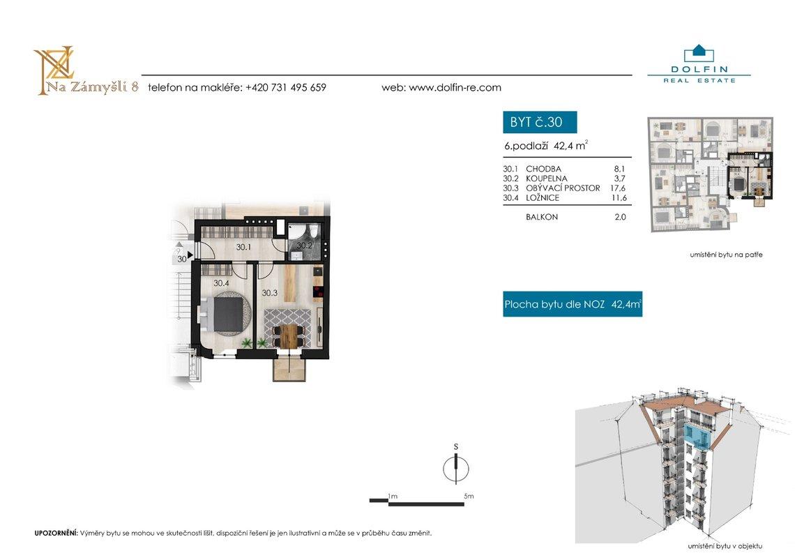 Продается квартира 2+kk, 42,4 м², с балконом, ул. Na Zámyšli