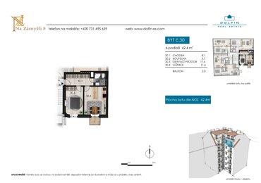 Flat for sale 2+kk, 42,4 m², with balkony, st. Na Zámyšli