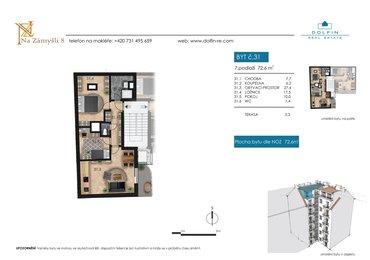 Flat for sale 3+kk, 72,6 m², with terrace, st. Na Zámyšli