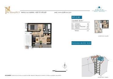 Flat for sale 2+kk, 52,5 m², with terrace, st. Na Zámyšli