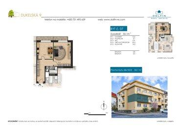 Flat for sale 1+1, 55,1 m², ul. Dukelská