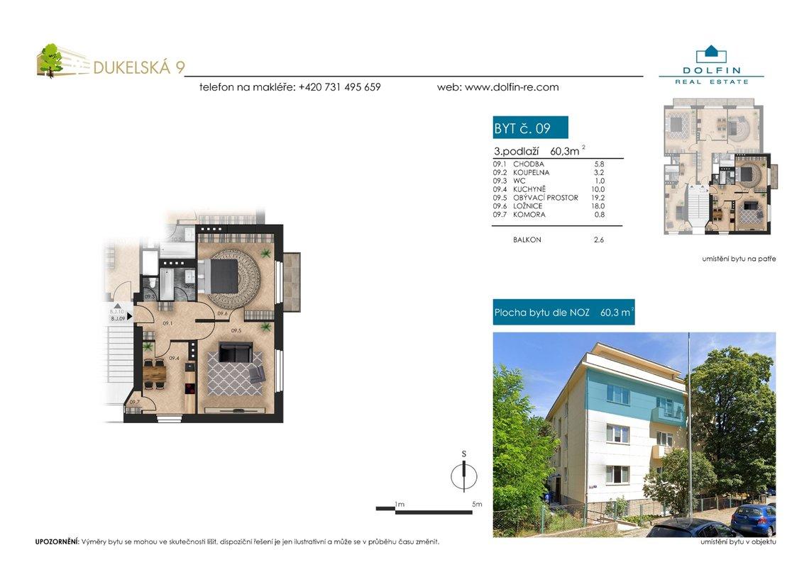 Flat for sale 2+1, 60,3 m², ul. Dukelská