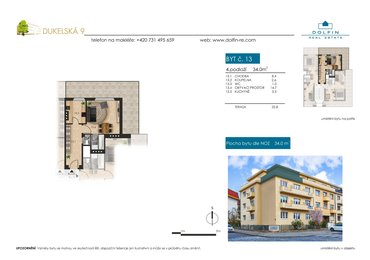 Flat for sale 1+1, 34 m², ul. Dukelská