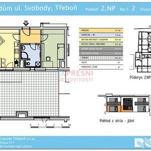 Prodej, Byty 2+kk, 99m², parkovací místo, terasa - Třeboň