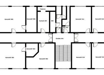 Pronájem 5 kanceláří, 187 m2 užitné plochy, ul. Svazarmovská, Frýdek-Místek