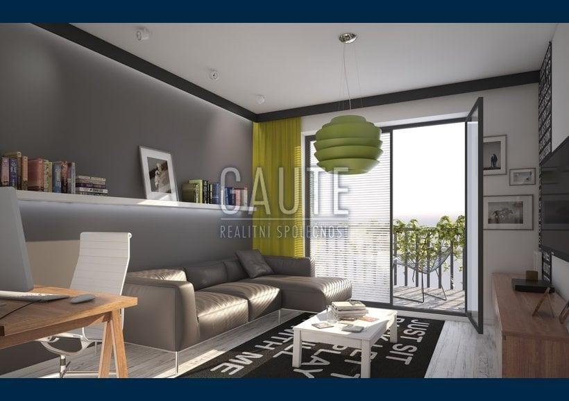 byt - varianta A - pohled skrz obývací pokoj na lodžii