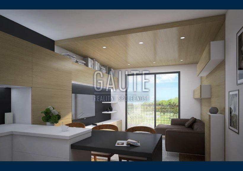 byt - varianta B - pohled skrz obývací pokoj na lodžii