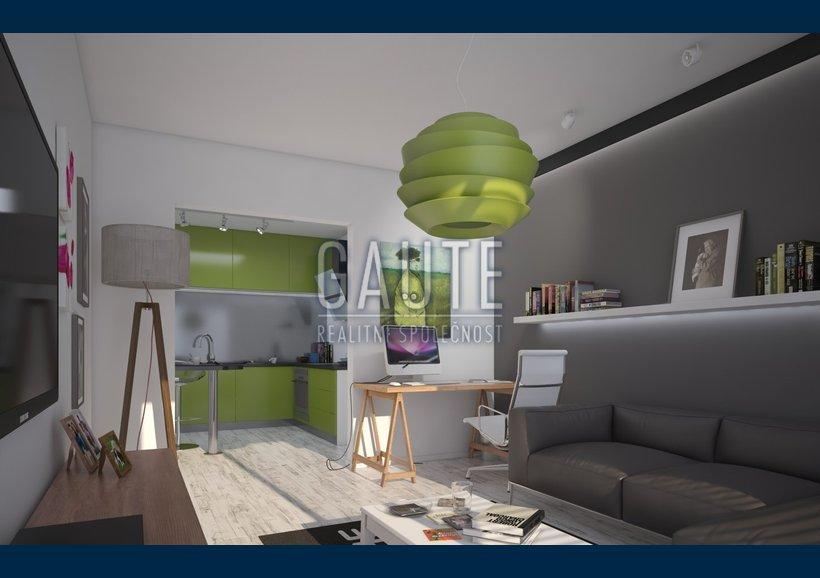 byt - varianta A - pohled skrz obývací pokoj do kuchyně