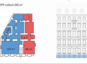 Pronájem prostorů- komerční využití, o vel. 205 m² ,Praha - Nové Město, ul. Opletalova