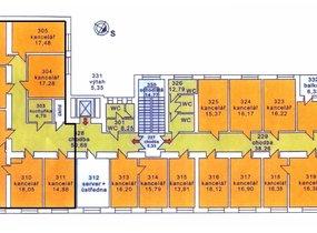 Půdorys 3.NP, kancelářská jednotka 196 m2