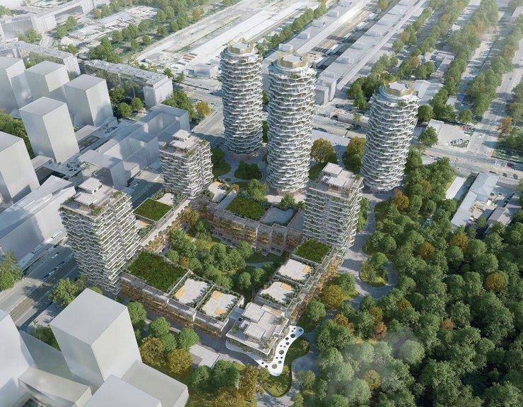 Unikátní rozvlněné věže od Evy Jiřičné:  Centrum Nového Žižkova s velkým parkem místo nefunkčních telekomunikačních budov