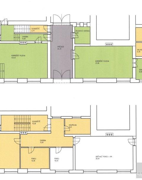 Prodej rodinného domu s garáží a obchodními jednotkami, podl. plocha 288 m2, Bystřice n
