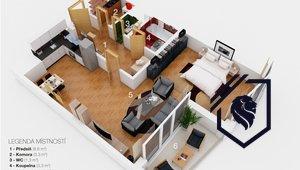 Prodej bytu 1+kk, 58 m2/ L, Praha 8, Karlín