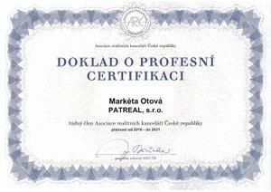 Certifikát Markéta Otová