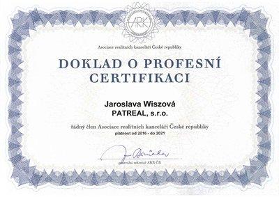 certifikát J