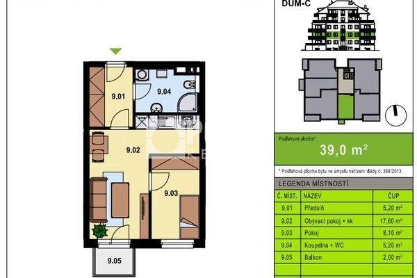 Nabídka prodeje bytu 2+kk/B, 38 m2, ul. Želetická, Praha 5 - Zličín - Sobín, OV, 2.NP, cihla