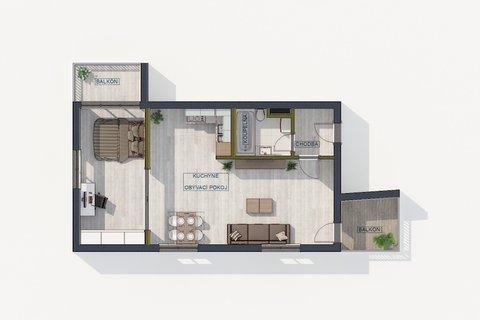 Prodej bytu 2+kk Jeremenkova, Podolí, Praha,půdorys, realitní makléř v Praze, realitní kancelář6