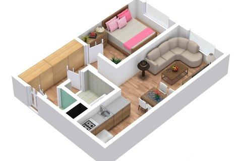 Rajmonova - 1. podla?í - 3D Floor Plan